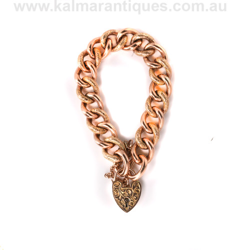 Antique rose gold curb link bracelet