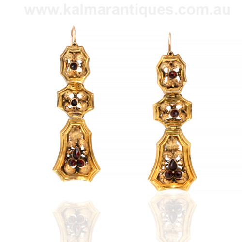 Antique detachable garnet drop earrings