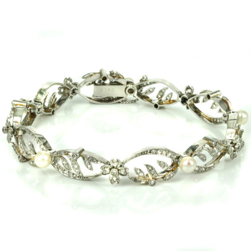 Antique diamond and pearl belle epoque bracelet