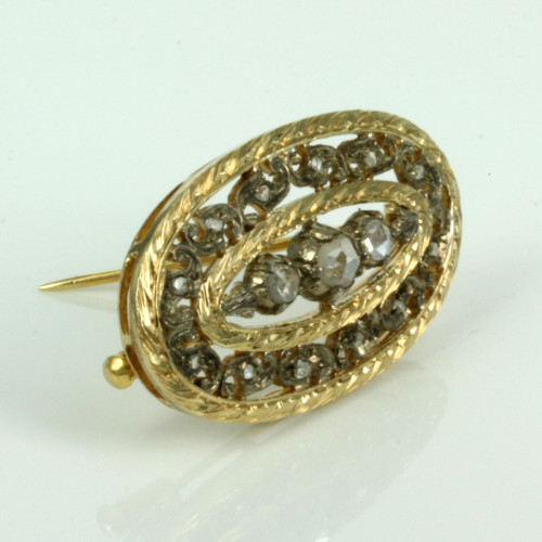 Antique rose cut diamond brooch set with 15 diamonds