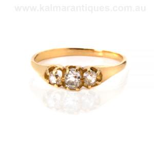 Antique mine cut diamond engagement ring Sydney