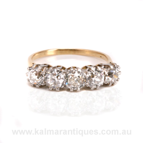 Antique 5 stone diamond engagement ring