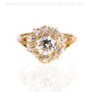Early Australian antique diamond cluster engagement ring by Donovan and Overland