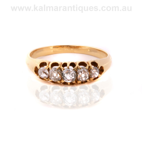 Antique mine cut diamond engagement ring