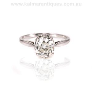 Platinum Art Deco cushion cut diamond engagement ring Sydney