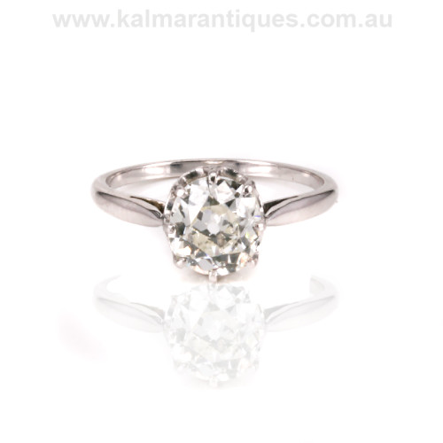 Platinum Art Deco cushion cut diamond engagement ring Sydney