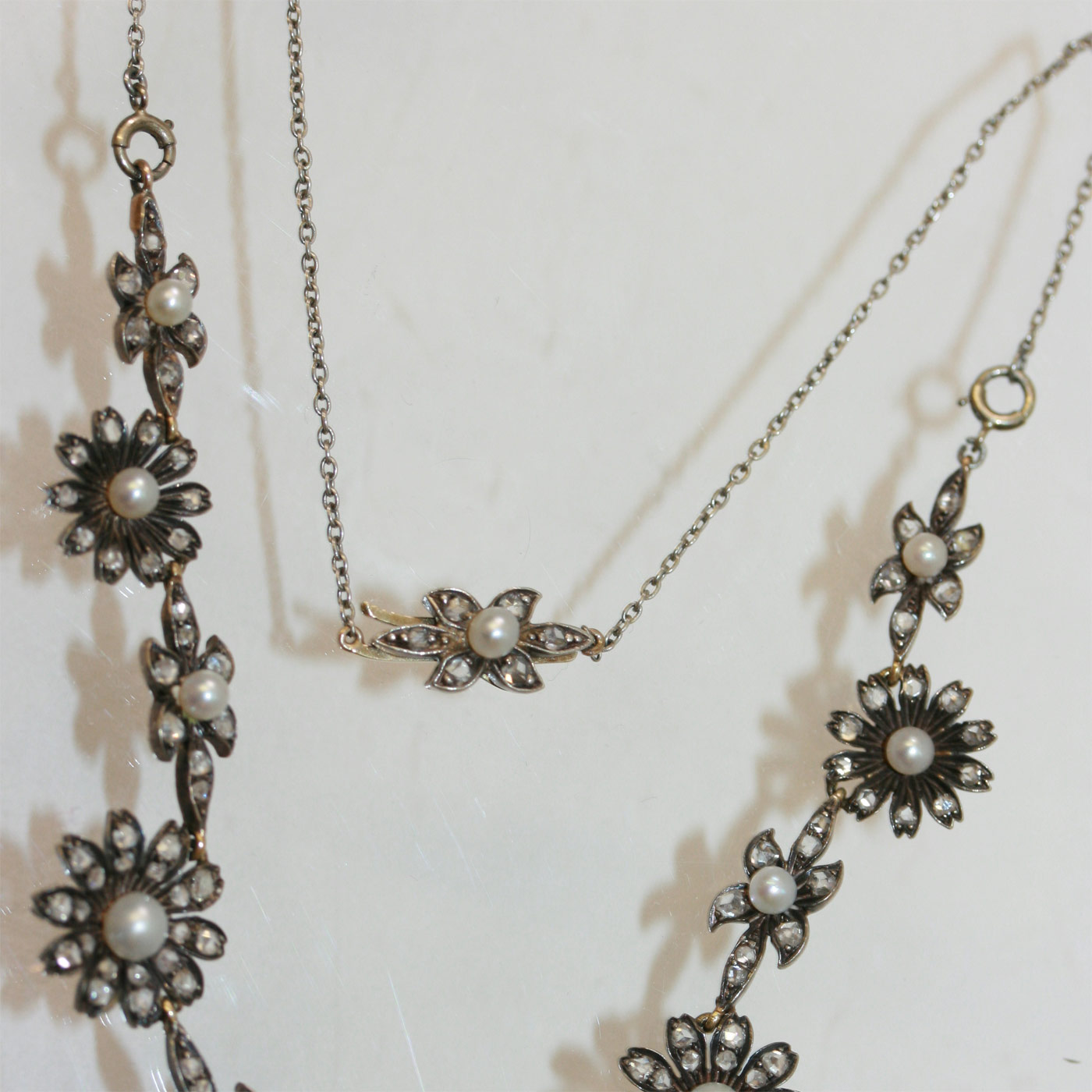 diamond y w estate white gold antique necklace pearl mm vintage
