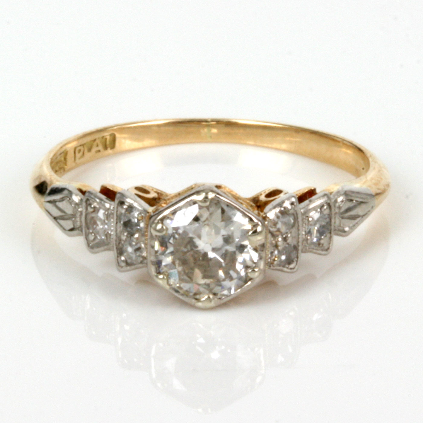 buy antique engagement ring in gold and platinum