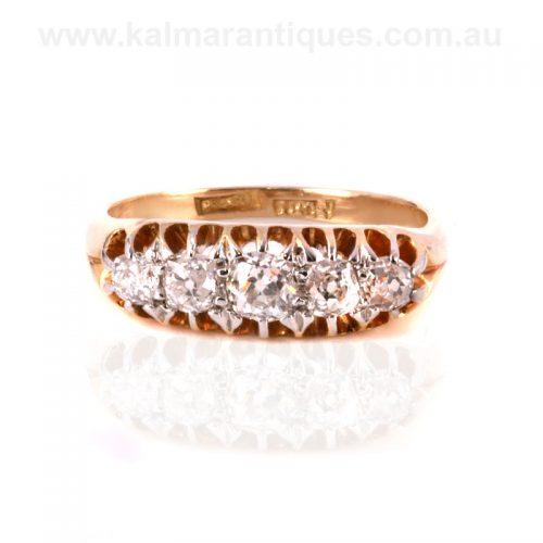 18ct antique mine cut diamond engagement ring