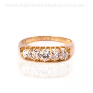 Antique diamond engagement ring set with European cut diamonds