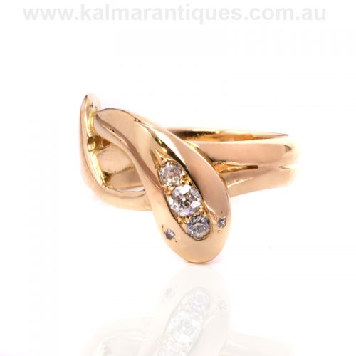15ct gold diamond set antique snake ring made in the 1890's