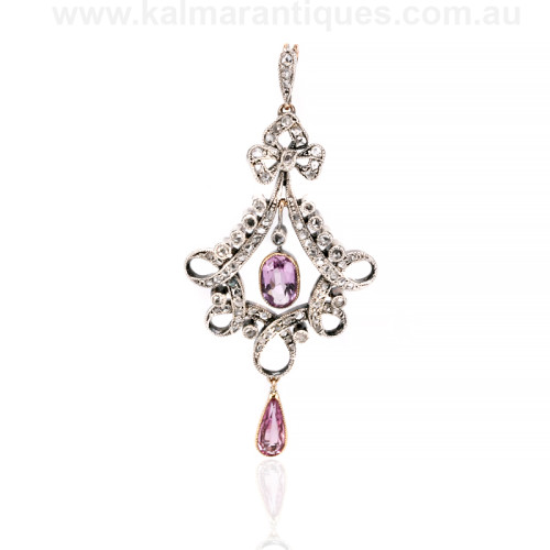 Antique diamond and topaz pendant