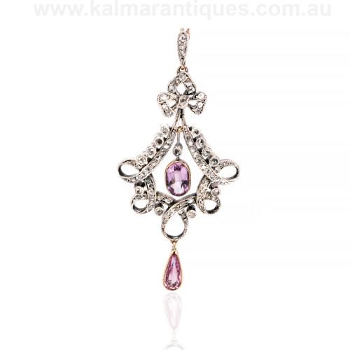 Antique diamond and topaz pendant