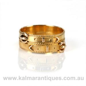Antique double buckle ring