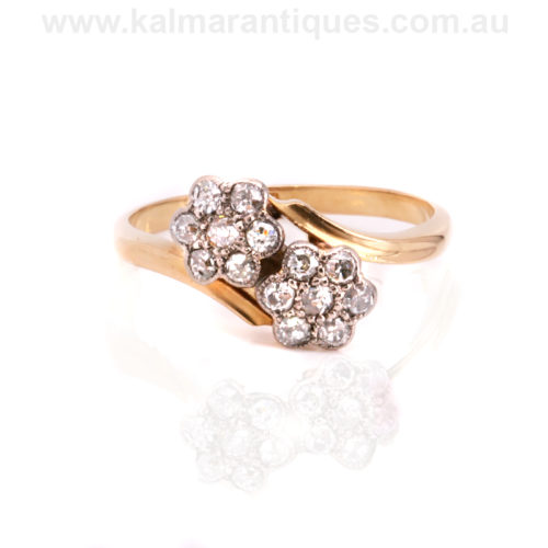 18ct gold and platinum Art Deco double cluster diamond ring