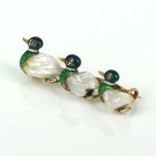Antique enamel and pearl duck brooch