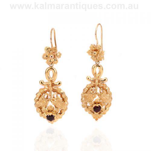 19th century 15ct gold antique garnet drop earrings