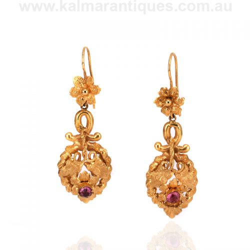 Pair of French antique 18ct yellow gold garnet earrings
