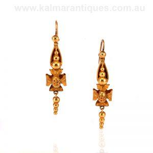 15ct gold antique Victorian era earrings
