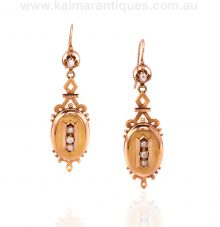 Victorian era antique drop earrings set with pearls