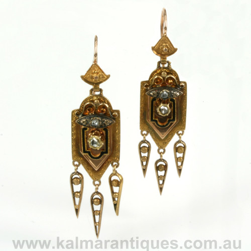 Antique diamond and enamel earrings made in Austria in 1875