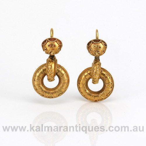 Antique drop earrings from the 1880's in 15ct gold