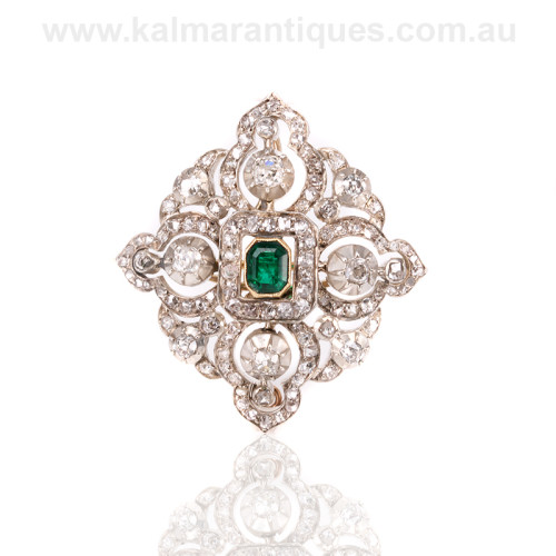 Antique emerald and diamond brooch and pendant