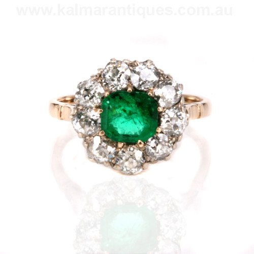 Antique emerald and diamond cluster ring