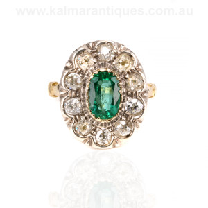 Antique emerald and diamond cluster ring Sydney