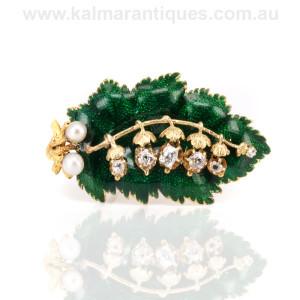 Antique enamel diamond and pearl brooch