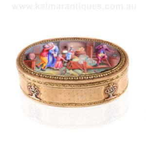 French antique 18ct gold enamel box