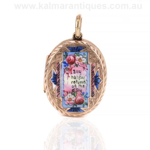 Antique enamel locket