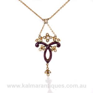 Antique enamel and pearl pendant