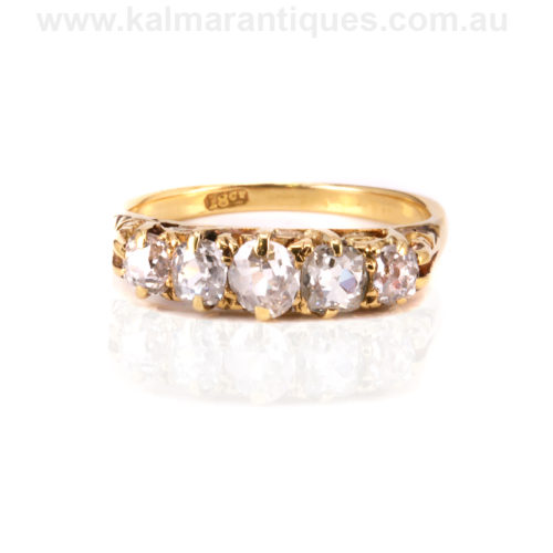 Antique 5 stone diamond engagement ring from the 1890's