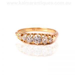 18ct yellow gold antique five stone diamond engagement ring