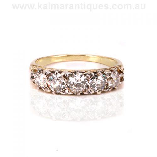 Victorian era antique five stone diamond engagement ring