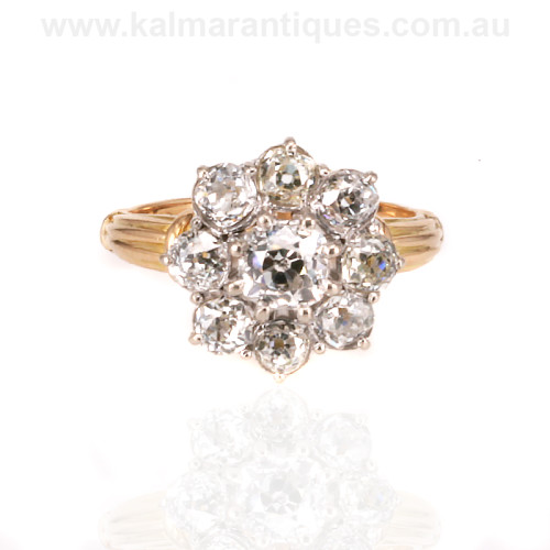 Antique diamond cluster engagement ring Sydney. Best place to find engagement rings in Sydney