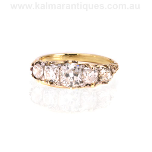 18ct yellow gold Victorian antique diamond engagement ring