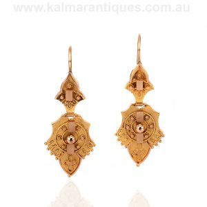 15ct rose gold antique drop earrings from the Victorian era