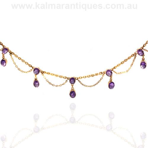 Antique amethyst fringe necklace