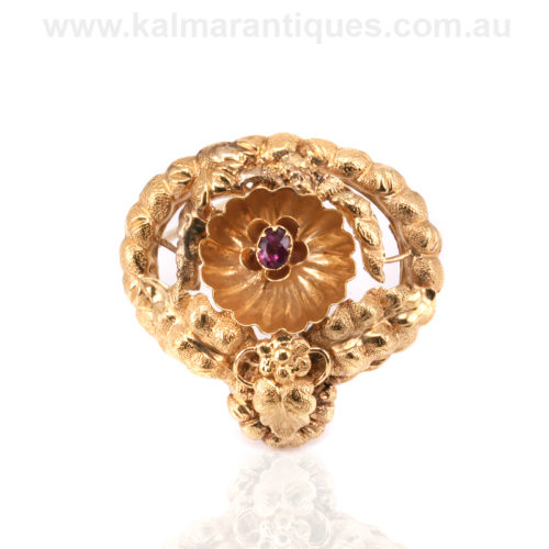 15ct gold antique garnet brooch from the 1870's