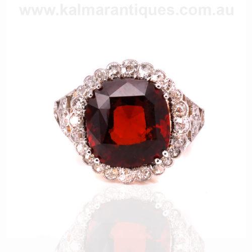 Antique spessartite garnet and diamond cluster ring