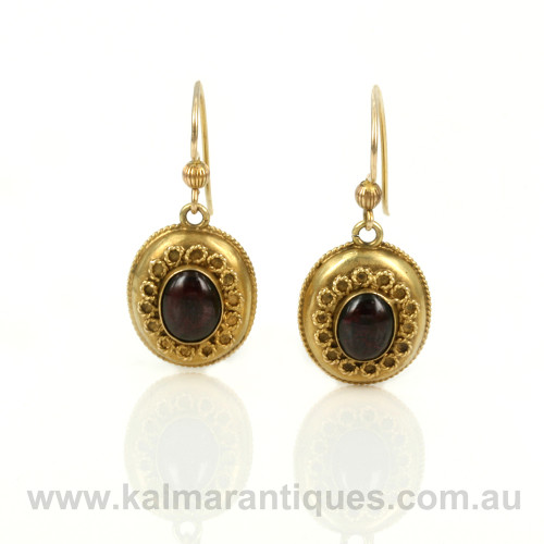 Antique garnet earrings with locket compartment