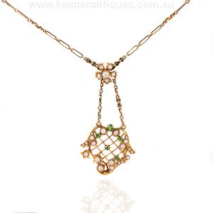 Antique demantoid garnet and pearl Art Nouveau pendant