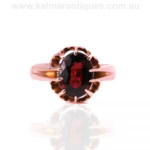 antique rose gold garnet ring made in 1911