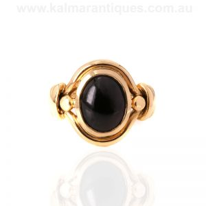 Antique 15ct gold cabochon garnet ring from the 1880's