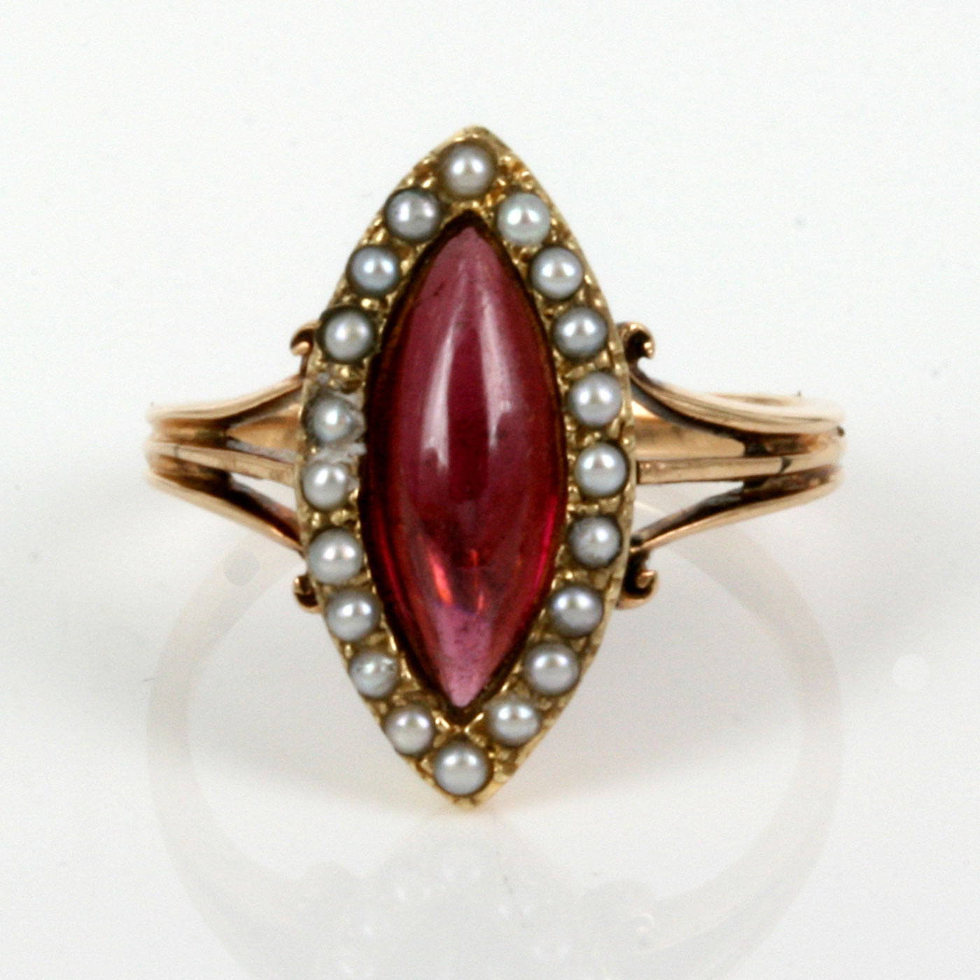 buy rose gold antique garnet and pearl ring sold items