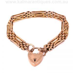 Antique 9 carat rose gold night and day gate link bracelet