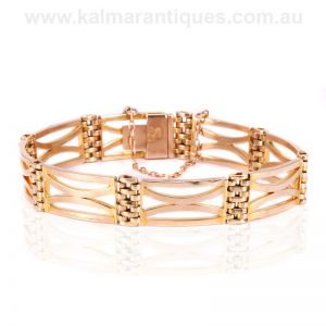 Antique rose gold gate bracelet from the Edwardian era