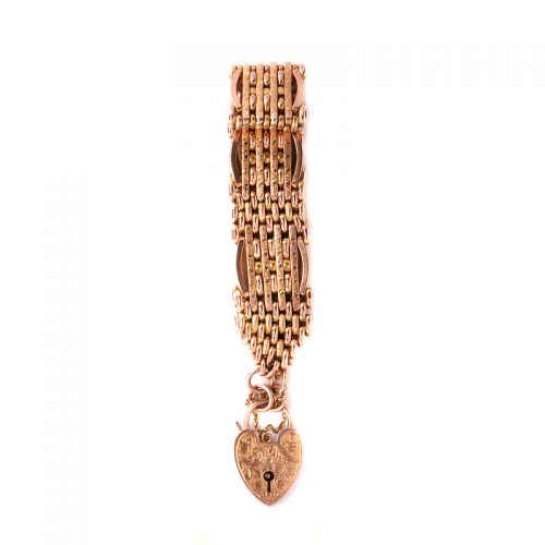 Edwardian era antique rose gold night and day gate bracelet